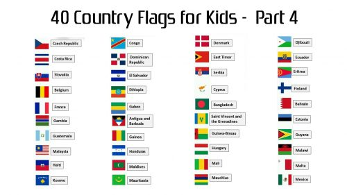 Attachment file to download for 40 country flags with names for kids - part 4