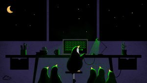 Attachment file for Computer Backgrounds 4 of 18 - Penguins at night