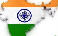 Flags of Countries - Three colors as Flags of India Symbol with map in 3D