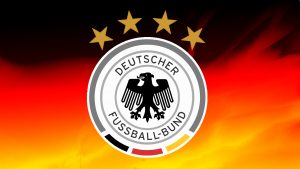 Germany Football Logo Wallpaper with 4 Stars and National Flag