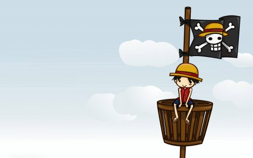 Attachment file for One Piece Wallpaper - little Luffy in the ship