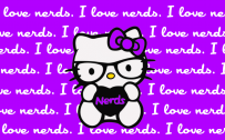Hello Kitty Nerd Wallpaper with Purple Background and Quotes