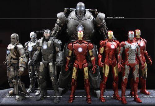 Iron Man Variation from Mark I to Mark VI
