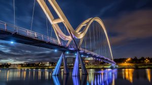 Long Exposure Photo of Stockton Bridge Light at Night