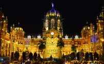 Chhatrapati Shivaji Terminus at Night for Architecture Wallpaper