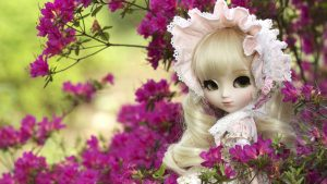 Picture of Flower and Cute Doll for Girly Wallpapers in HD