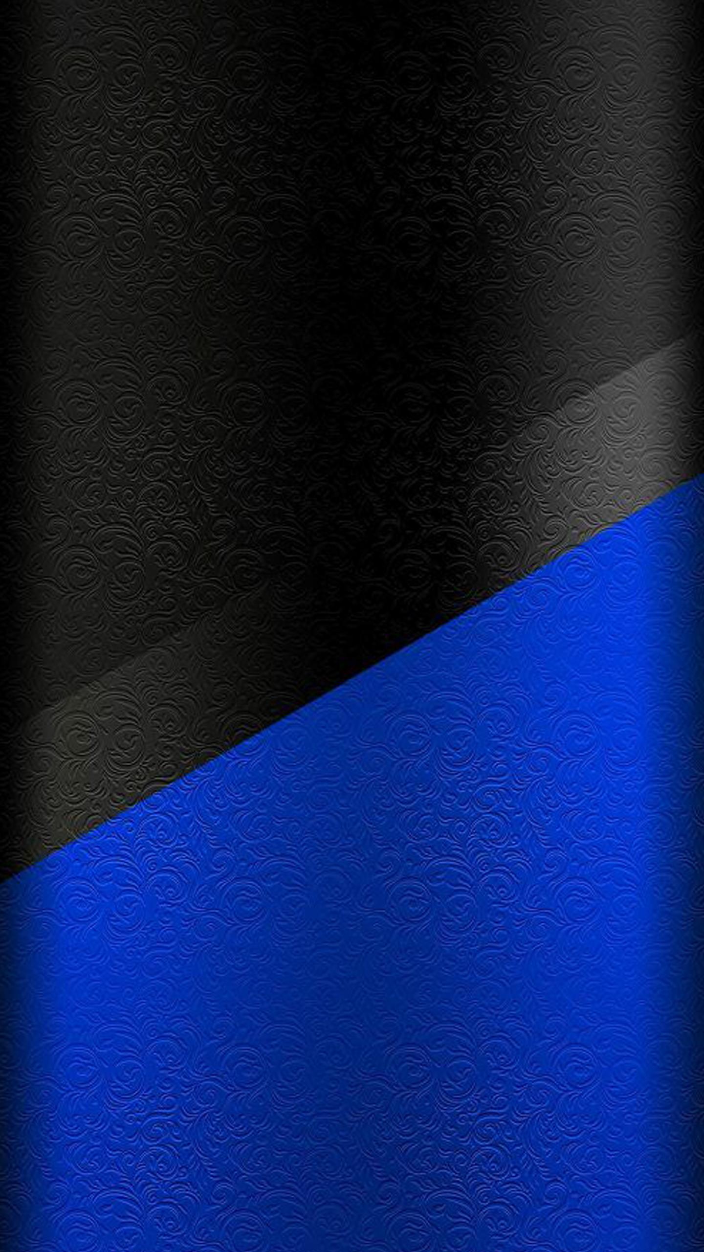 Dark S7 Edge Wallpaper 01 - Black and Blue Floral Pattern ...
