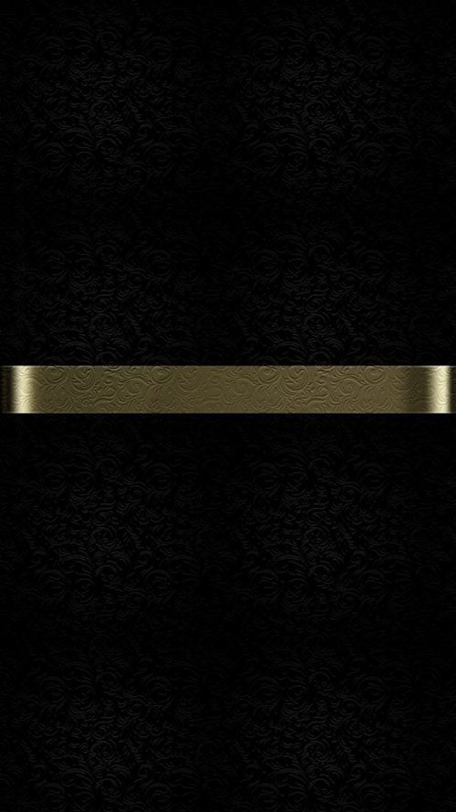 Free Download of Dark S7 Edge Wallpaper 09 with Black Background and Gold Line with Floral Texture
