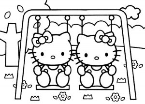 Kitty and Mimmy for Hello Kitty Coloring Pages 03 of 15