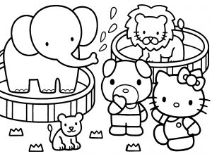 Kitty and Friends in the Zoo - Hello Kitty Coloring Pages 04 of 15
