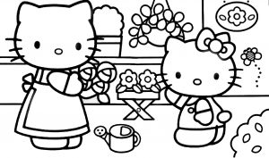 Hello Kitty Coloring Pages 05 of 15 - In the garden with Mom