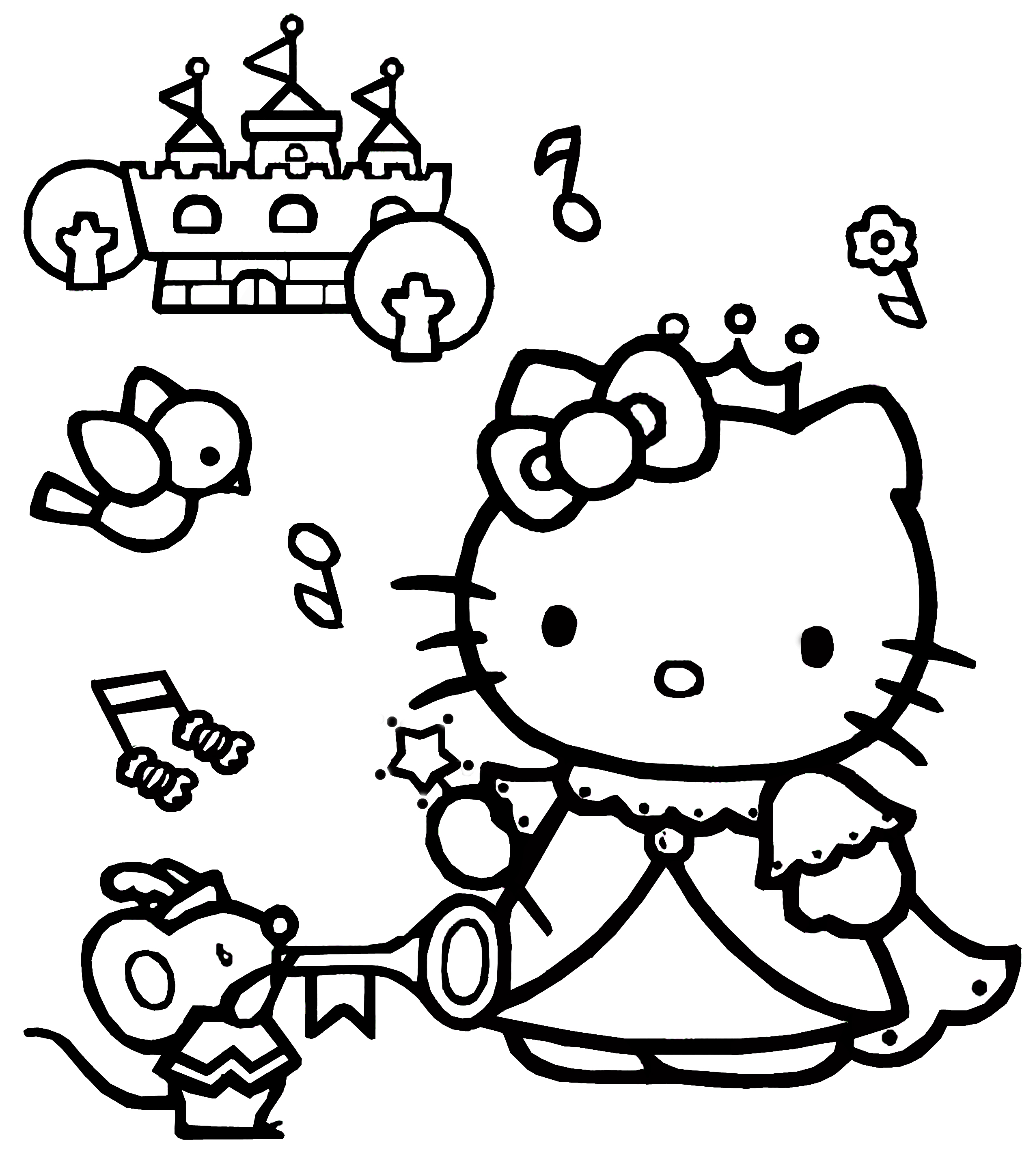 coloring pages of hello kitty hello kitty coloring pages 06 of 15 princess hd