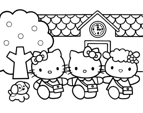 Hello Kitty Coloring Pages 07 of 15 with Mimmy, Kitty and Fifi