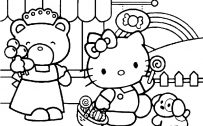 Hello Kitty Coloring Pages 08 of 15 with Picture of Kitty Sopping Candy