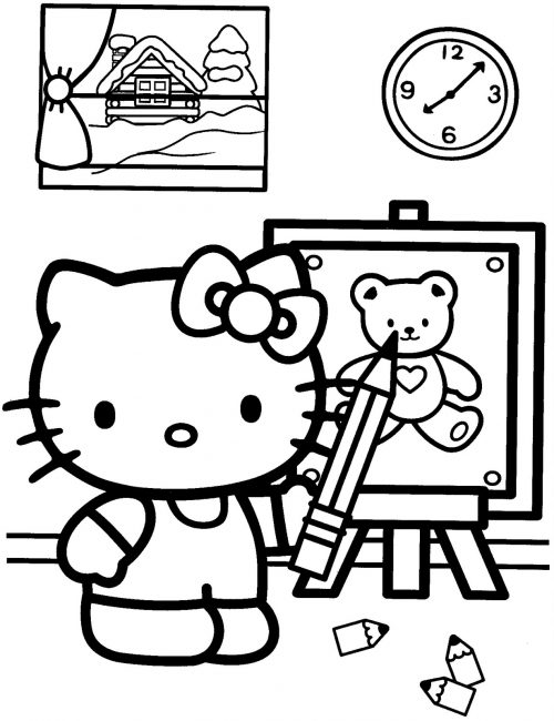 Hello Kitty coloring Pages 02 of 15 - Drawing a Teddy Picture