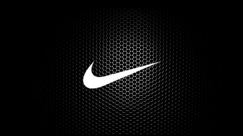 Free Download of White Nike Logo Wallpaper with Hexagonal Background