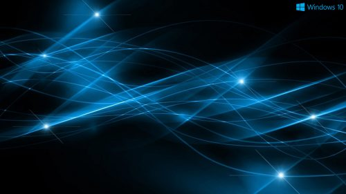 Abstract Windows 10 Background and Logo with Dark Blue Lights