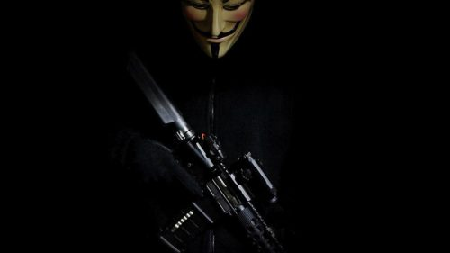 Free Download of Anonymous Mask Picture with Weapon for Wallpaper