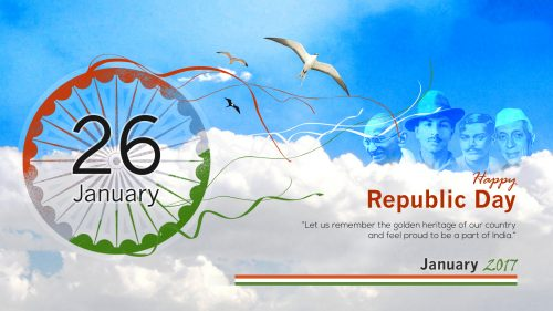 Republic Day 2017 Background with four Indian Greats Patriots
