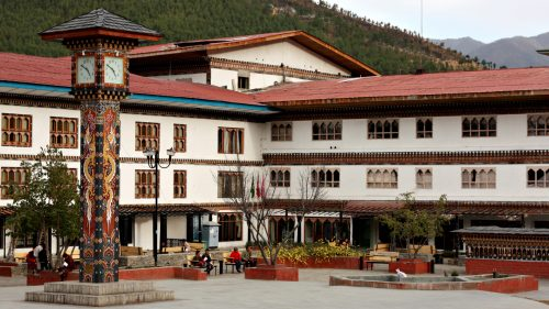 Bhutan clock tower square