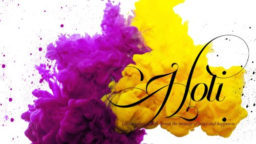 HD Holi Wallpaper With Yellow And Purple Color