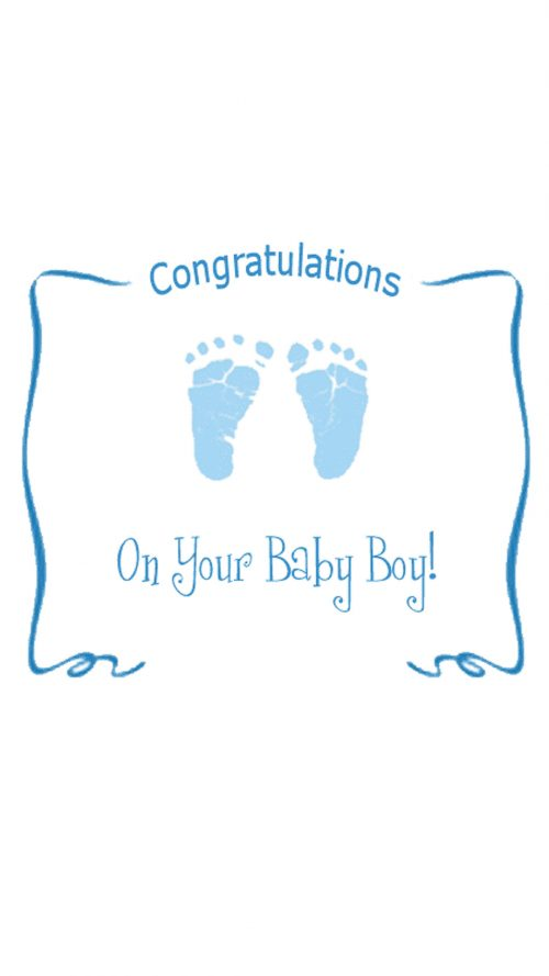 Congratulations Baby Card for Boy in Blue Color