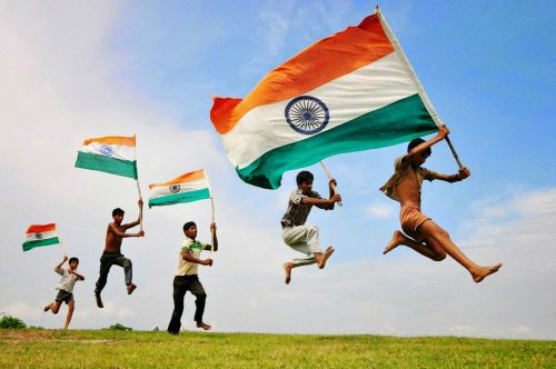 India Flag Fluttering by Kids for Indian Independence Day Celebration