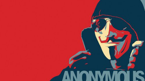 Anonymous Wallpaper with Red Background
