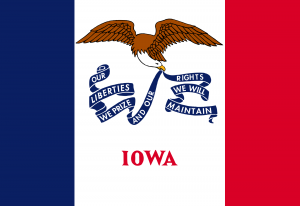 State Flags of The United States of America with State of Iowa Flag
