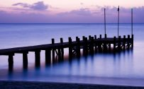 Attachment for Nature wallpaper with bridge in a calm sea at evening