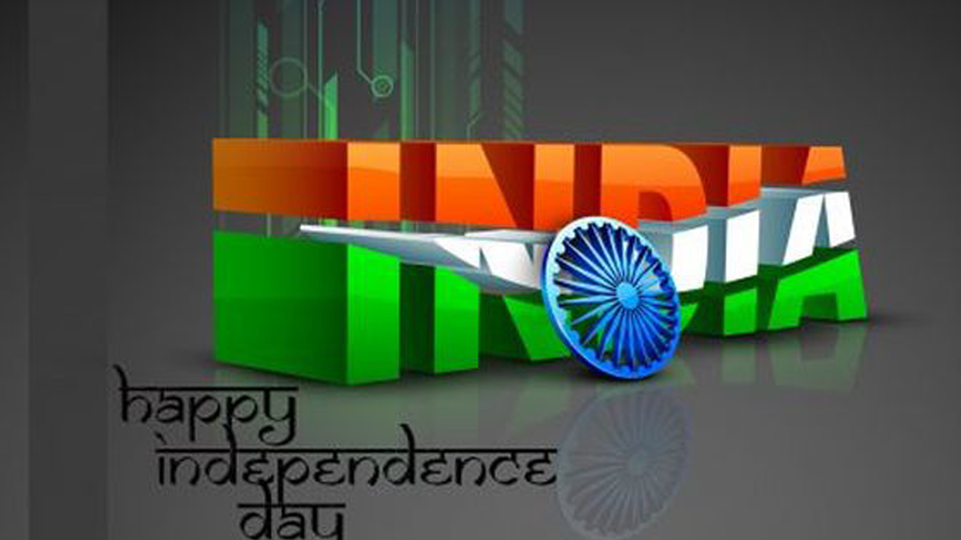 Indian Flag With Different Views: 3D India Text For Independence Day Wallpaper In HD