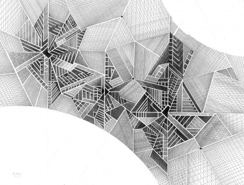 Abstract Art Using Pencil 08 0f 10 with 3D Geometry