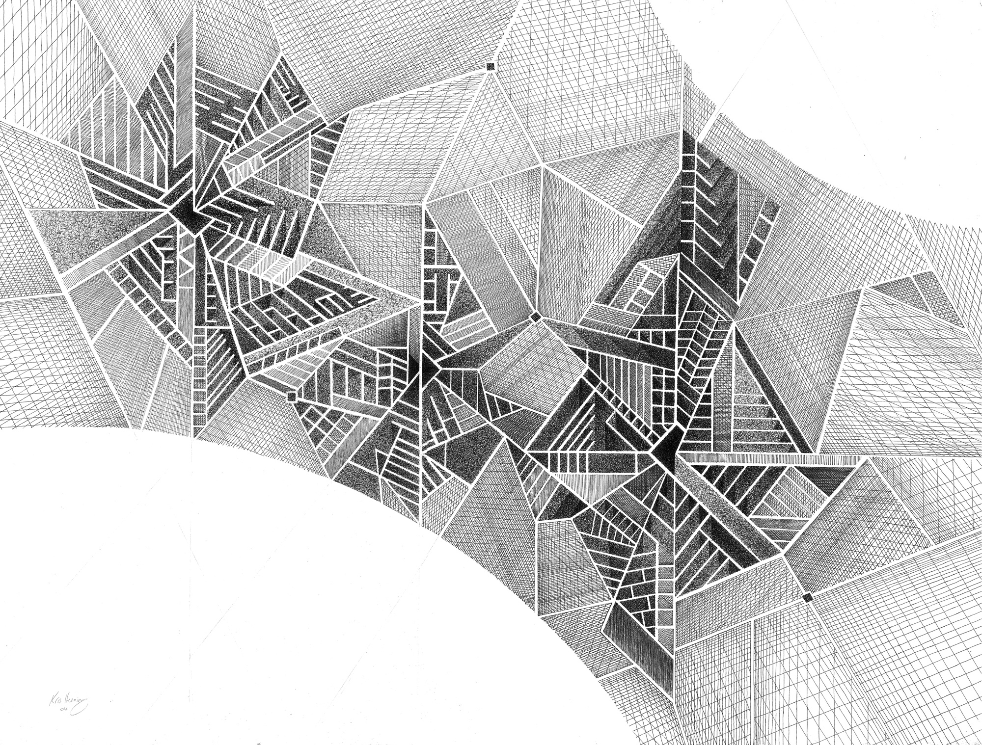 Drawing Lines With Pencil : Abstract art using pencil f with d geometry hd