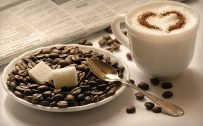 Attachment for Artistic laptop background with cappuccino coffee wallpaper
