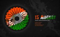 India flag wallpaper with artistic tricolor Tiranga and Mahatma Gandhi Profile