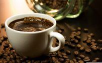 Background for laptop with Black Coffee Wallpaper in close up