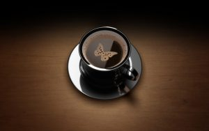 Background for laptop with Butterfly Picture on Coffee Cup