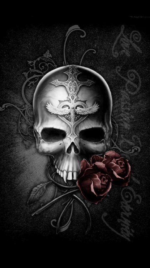 Badass wallpapers for android 03 0f 40 dark skull and rose - Badass screensavers ...