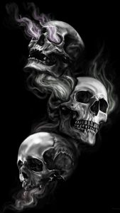 Badass Wallpapers For Android 04 0f 40 Three Skulls on Dark Black Background