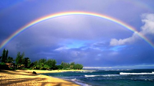 Beautiful Nature Wallpaper Big Size with Rainbow on Beach