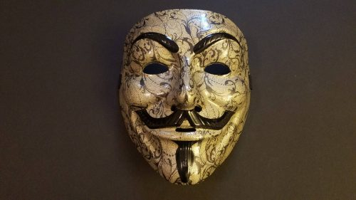 Custom Anonymous Mask Gold Picture for Wallpaper