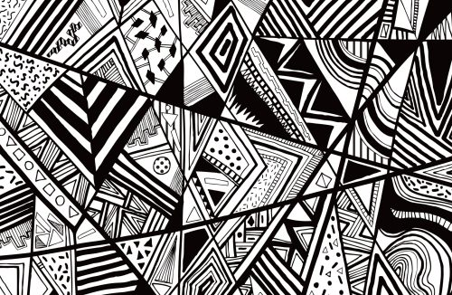 Examples Of Abstract Art Drawings with Aztec Navajo Triangles Pattern