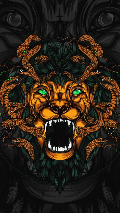 Awesome Badass Wallpapers For Android 20 0f 40   Animated Lion And Snakes
