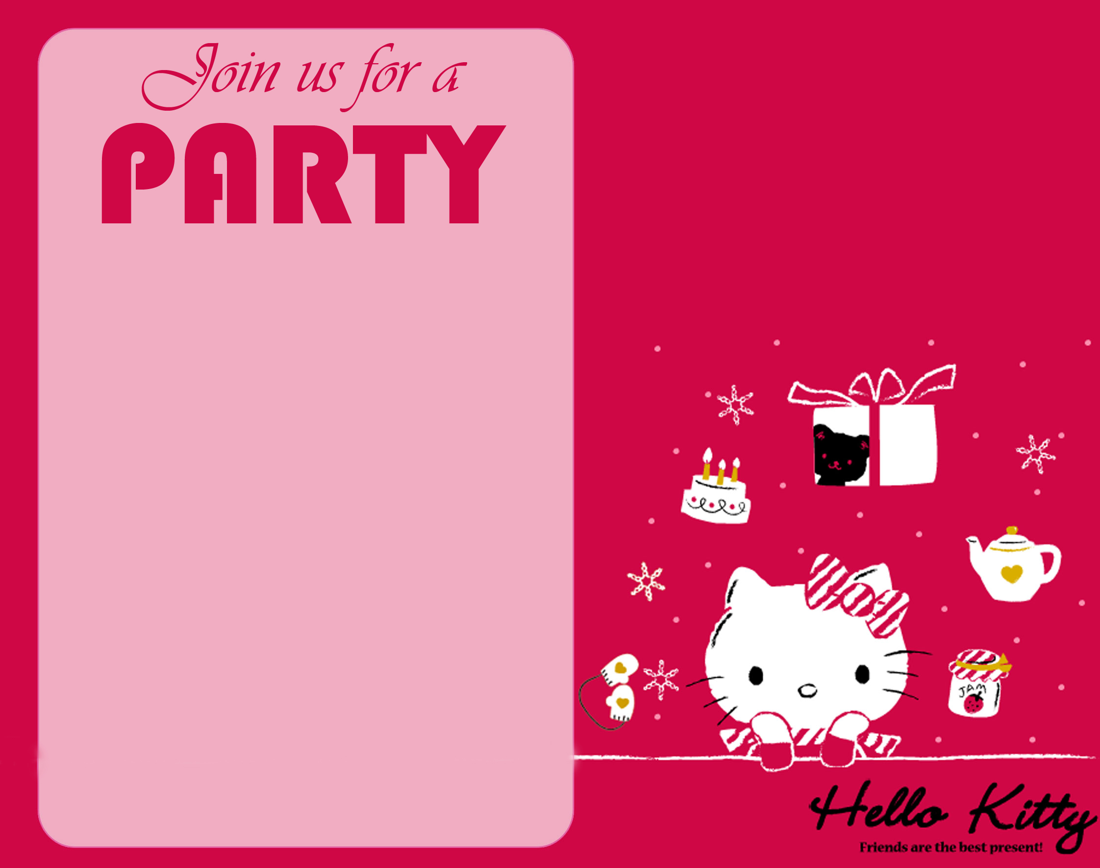 Free hello kitty wallpaper for party invitation card design hd its a good idea to use a hello kitty theme for designing an invitation card for party such as this one a pink colored party invitation card design with stopboris Image collections