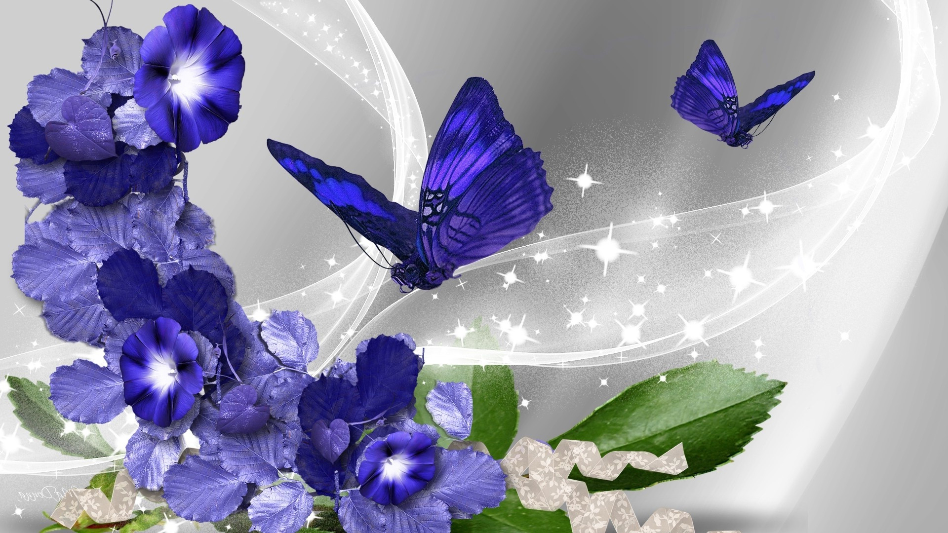 Pictures Of Blue Flowers And Butterflies With Abstract