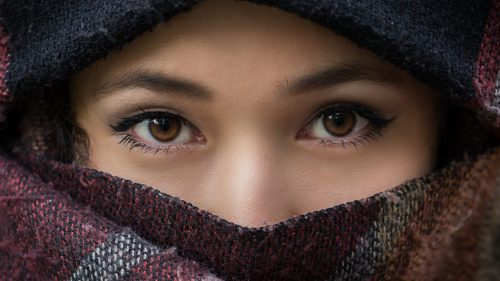 Beautiful Eyes of Girl with Scarf