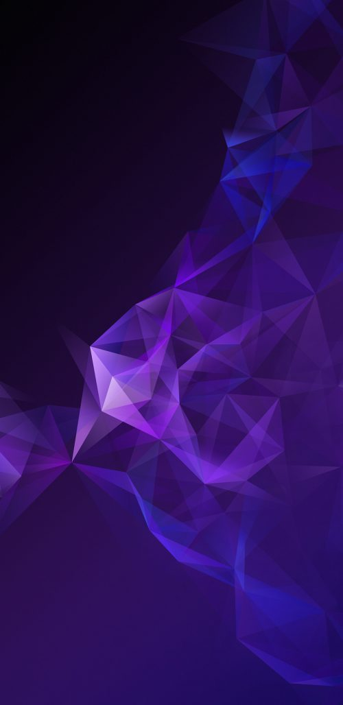 Official Wallpaper 05 of 15 for Samsung Galaxy S9 and Samsung Galaxy S9+ with Dark Purple Polygons
