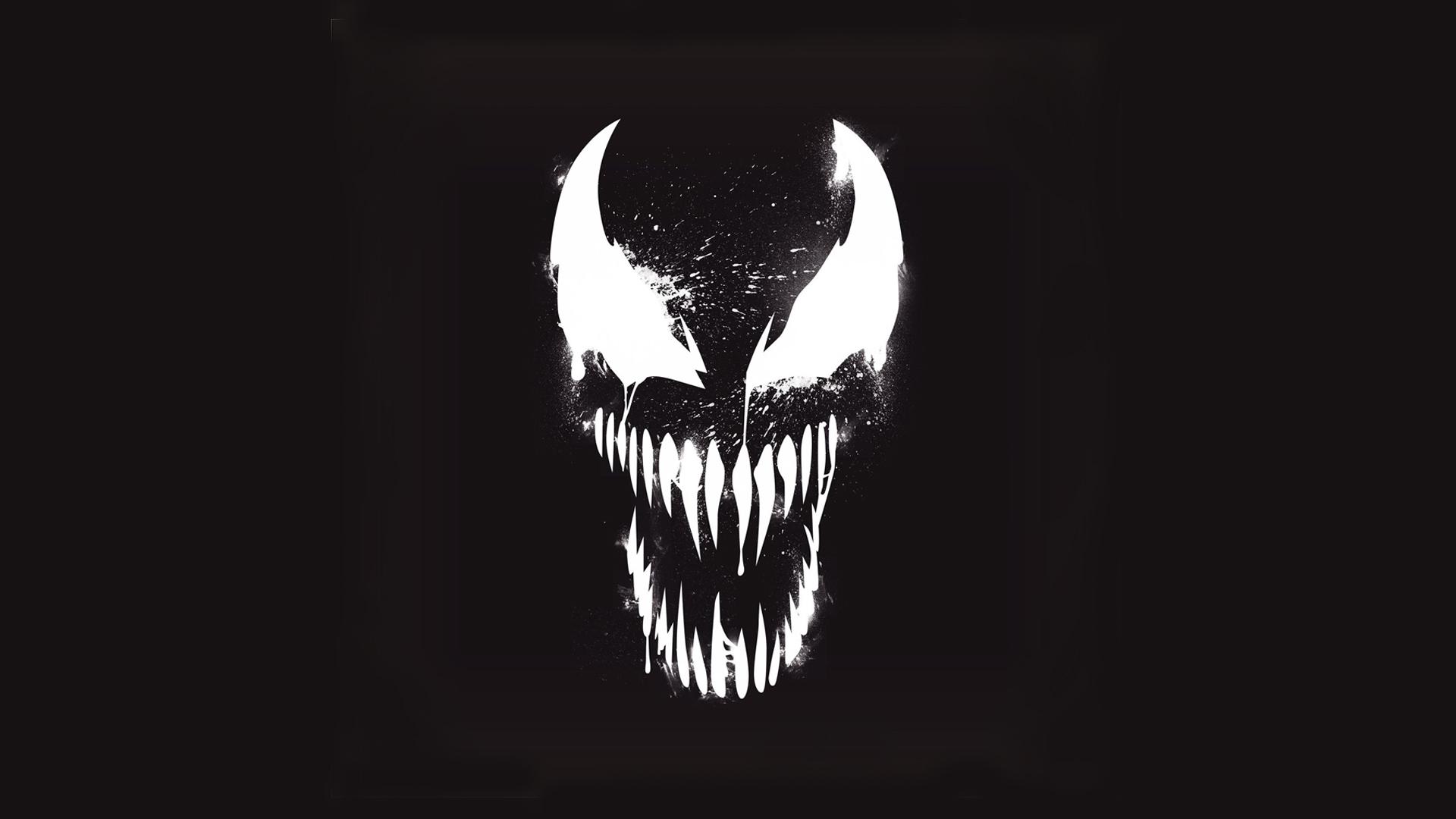 venom marvel artistic logo with dark background hd
