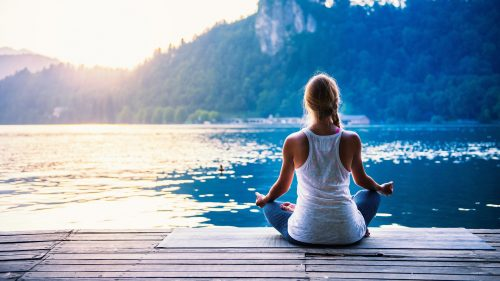 Picture of Yoga Girl Beside The Lake for Wallpaper