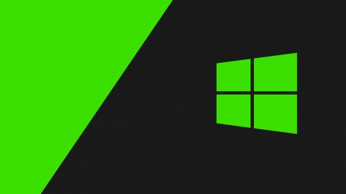 4K Black Wallpapers for Windows 10 – #10 of 10 – with Logo on Dark and Green Background